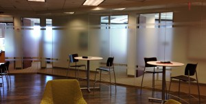 Decorative window film in a business space